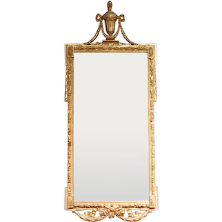 Large Italian Neoclassical Period Gilt Wood Mirror with Urn Crest