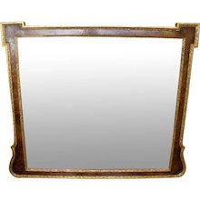 George II Style Burl Walnut and Parcel Gilt Mirror (Overmantel)