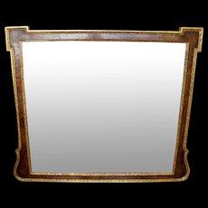 George II Style Burl Walnut and Parcel Gilt Mirror (Overmantel)