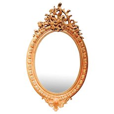 Oval French Gilded Rococo Crested Mirror, 19th Century