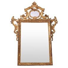 Italian Rococo Style Gilt Wood Carved Mirror