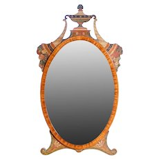 Sheraton Style Satinwood and Paint Decorated Dressing Mirror