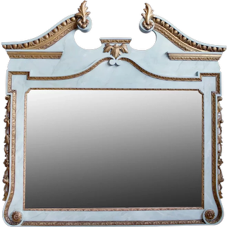 George II Style Faux Marble Painted and Parcel Gilt Over Mantel Mirror