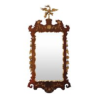 George II Style Walnut and Parcel Gilt Mirror with HoHo Bird Crest