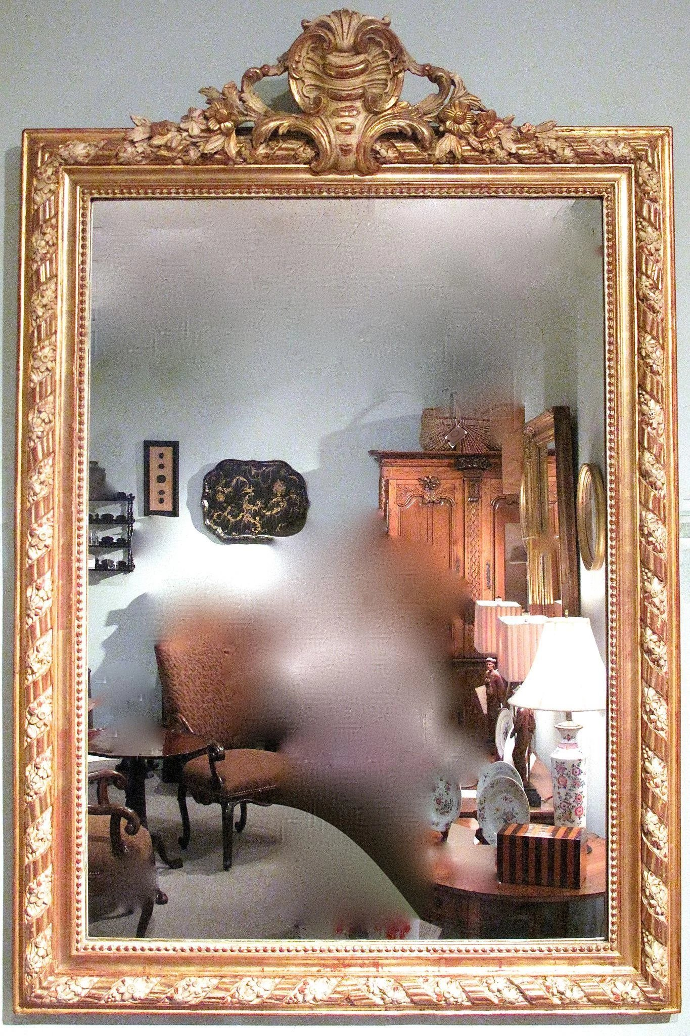 Gilt And Polished Gesso Crested French Mirror Mirabelle