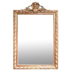 Gilt and Polished Gesso Crested French Mirror