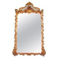 Tall French Louis XV Style Painted and Gilt Mirror