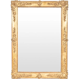 French Gilt Rectangular Mirror with Rococo Decoration and Cartouche Corners, late 19th Century