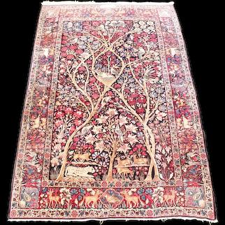 Lavar Kirman Persian Rug With Animal Motifs