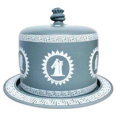 Large Dark Gray Jasperware Cheese Dome, Wedgwood