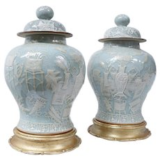 Pair of Chinese Celadon Porcelain Pâte sur Pâte Ginger Jars on Stands