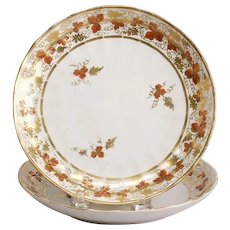 Pair of Fines Fluted English Derby Porcelain Plates, ca. 1810