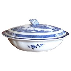 Large Nanking Covered Porcelain Dish, 19th Century Chinese Export