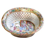 Chinese Export Rose Mandarin Chestnut Basket