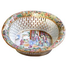 Chinese Export Rose Mandarin Porcelain Chestnut Basket