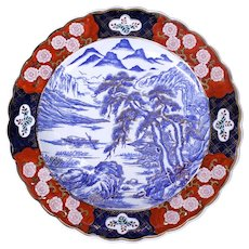 Chinese Clobbered Imari Porcelain Charger with Landscape