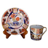 Worcester Early 19th Century Gilt Imari Saucer and Associated Spode Porcelain Demitasse Cup