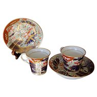 Pair of Chamberlain's Worcester Porcelain Thumb and Finger Demitasse Cups and Saucers