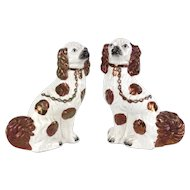 Pair of Large Staffordshire King Charles Spaniels with Rare Copper Lustre Glaze