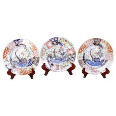 "Trio of English Gilt Imari Porcelain: Two Spode ""Rock and Tree"" and a Coalport Dessert Plate"