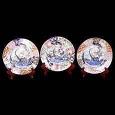 "Trio of English Gilt Imari Porcelain: Two Spode ""Rock and Tree"" and a Coalport Dessert Plate"