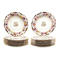 Set of 18 Cauldon Gilt Decorated Porcelain Dessert Plates with Pansies
