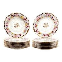 Set of 18 Cauldon Gilt Decorated Porcelain Dessert Plates with Pansies