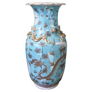 Aqua Glazed and Gilt Chinese Export Guangxu Porcelain Vase With Dragons