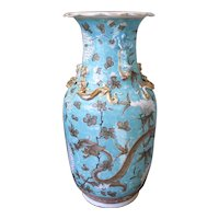 Turquoise Glazed and Gilt Chinese Export Guangxu Porcelain Vase With Dragons
