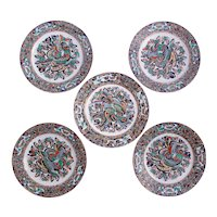 "Set of Five ""Thousand Butterfly"" Pattern Chinese Export Plates"