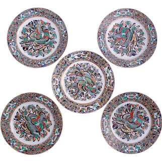"""Set of Five """"Thousand Butterfly"""" Pattern Chinese Export Plates"""