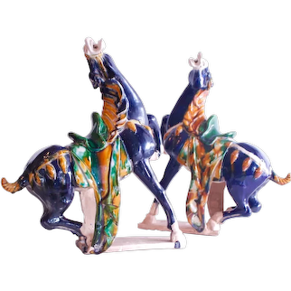Pair of Chinese Terracotta Tang Style Horses with Sancai Glaze