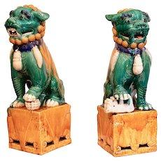 Pair of Large Chinese Porcelain Sancai Glazed Foo Dogs