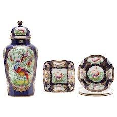 "Seven Piece Garniture of English ""Chelsea Bird' Pattern Porcelain"