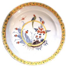 18th Century English Delft Charger with Parrot