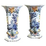Pair of De Paauw Delft Beaker Vases
