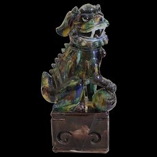 Chinese Porcelain Sancai Glazed Foo Dog on a Plinth