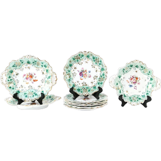 English Gilt and Floral Painted Nine Piece Dessert Set, Mid-19th Century