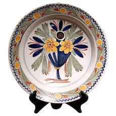 Large Polychrome Delft Charger with Flower Vase, 18th Century
