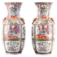 Pair of Large Chinese Export Rose Medallion Vases with Lion Head Handles
