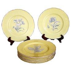 Set of 18 Royal Worcester Yellow Botanical Dessert Plates