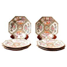 Set of Eight Rose Medallion Octagonal Porcelain Plates