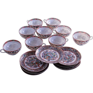 Set of 9 Tea Cups and Saucers, Thousand Butterfly Chinese Export Porcelain