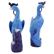 Pair of Turquoise and Manganese Glazed Chinese Porcelain Ho-Ho Birds or Phoenixes