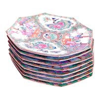 Set Of Eight Rose Medallion Octagonal Porcelain Dessert Plates