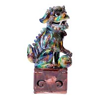 Chinese Porcelain Sancai Glazed Foo Dog on a Plinth