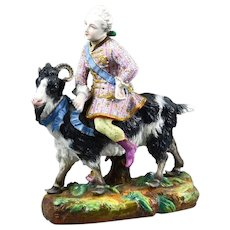 Porcelain Goat and Rider in 18th Century Style Dress