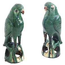 Pair of Antique Sancai Glazed Chinese Terracotta Parrots