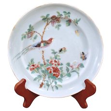 Chinese Export Celadon Porcelain Bird Plate