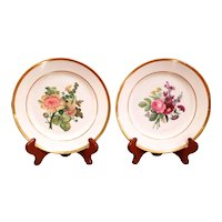 Pair of Deroche Paris Porcelain Floral Plates